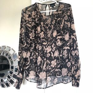 Who What Wear patterned long sleeve blouse, size S